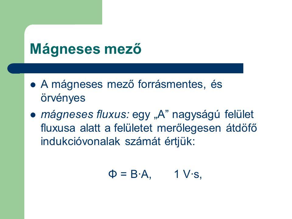 """Mágneses mező A mágneses mező forrásmentes, és örvényes mágneses fluxus: egy """"A"""" nagyságú felület fluxusa alatt a felületet merőlegesen átdöfő indukci"""