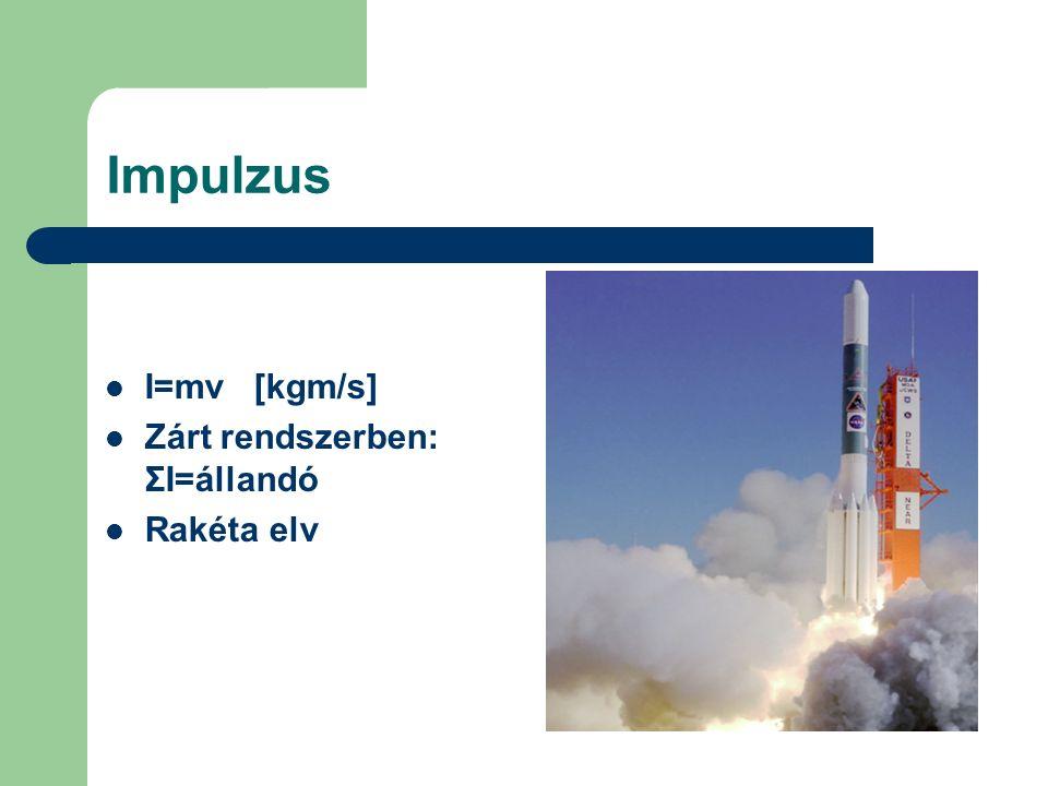Impulzus I=mv [kgm/s] Zárt rendszerben: ΣI=állandó Rakéta elv