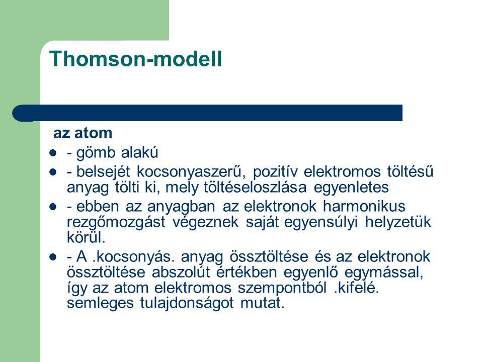 Thomson-modell az atom - gömb alakú - belsejét kocsonyaszerű, pozitív elektromos töltésű anyag tölti ki, mely töltéseloszlása egyenletes - ebben az an