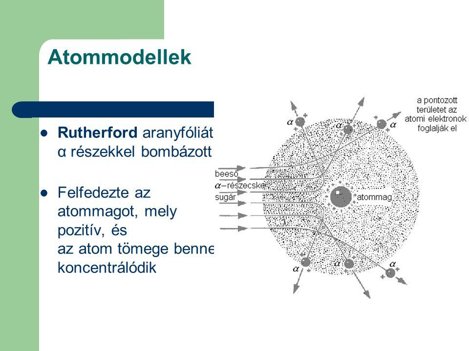 Atommodellek Rutherford aranyfóliát α részekkel bombázott Felfedezte az atommagot, mely pozitív, és az atom tömege benne koncentrálódik