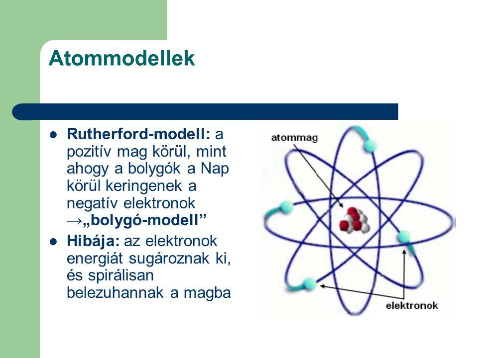 """Atommodellek Rutherford-modell: a pozitív mag körül, mint ahogy a bolygók a Nap körül keringenek a negatív elektronok →""""bolygó-modell"""" Hibája: az elek"""