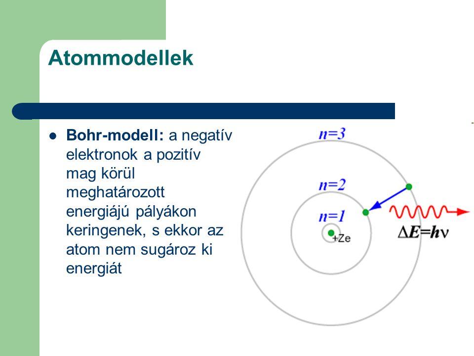 Atommodellek Bohr-modell: a negatív elektronok a pozitív mag körül meghatározott energiájú pályákon keringenek, s ekkor az atom nem sugároz ki energiá