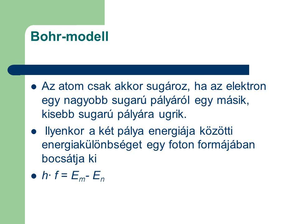 Bohr-modell Az atom csak akkor sugároz, ha az elektron egy nagyobb sugarú pályáról egy másik, kisebb sugarú pályára ugrik. Ilyenkor a két pálya energi