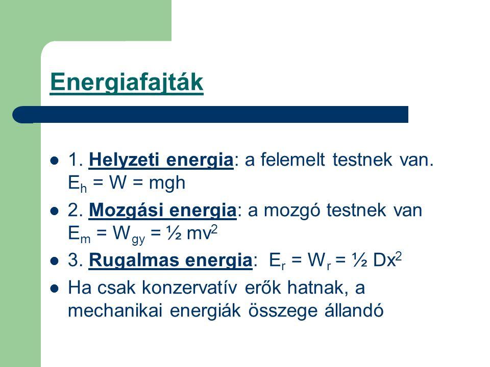 Energiafajták 1. Helyzeti energia: a felemelt testnek van. E h = W = mgh 2. Mozgási energia: a mozgó testnek van E m = W gy = ½ mv 2 3. Rugalmas energ