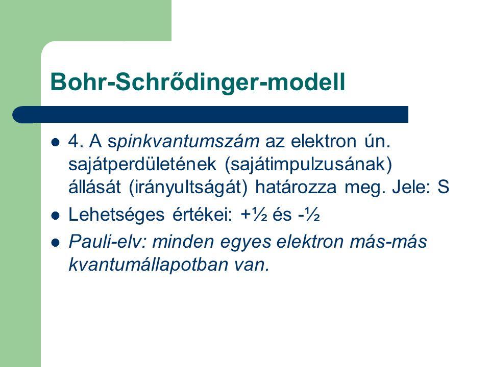Bohr-Schrődinger-modell 4. A spinkvantumszám az elektron ún. sajátperdületének (sajátimpulzusának) állását (irányultságát) határozza meg. Jele: S Lehe