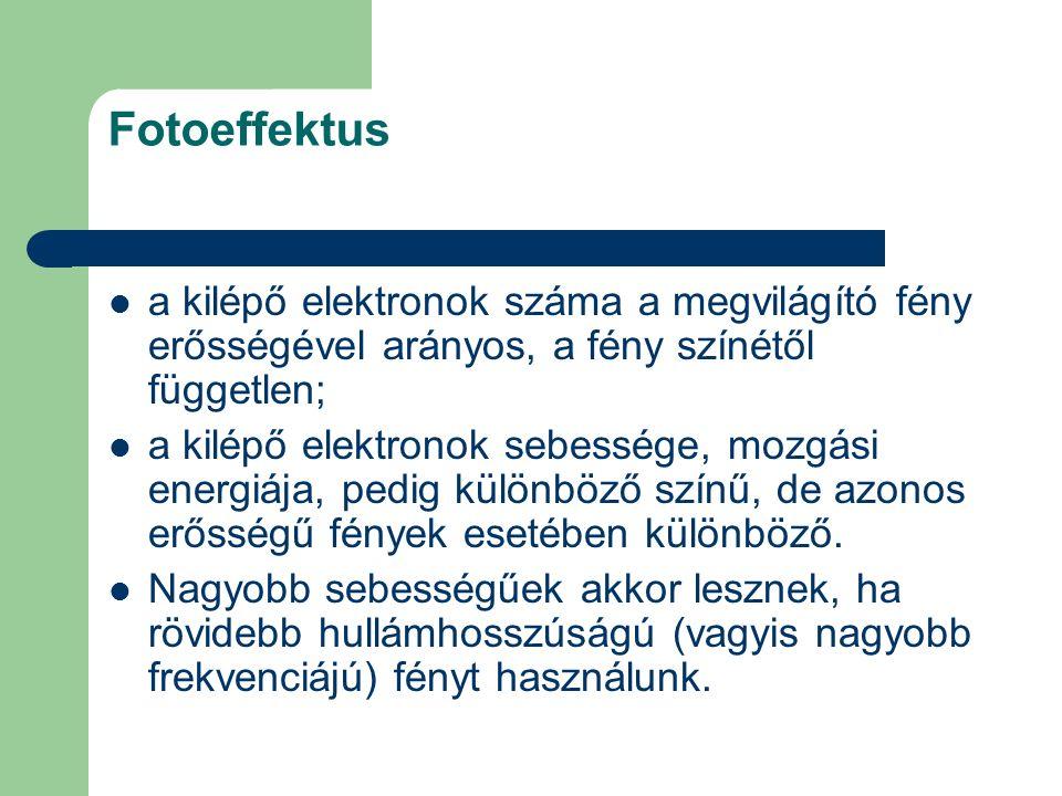 Fotoeffektus a kilépő elektronok száma a megvilágító fény erősségével arányos, a fény színétől független; a kilépő elektronok sebessége, mozgási energ