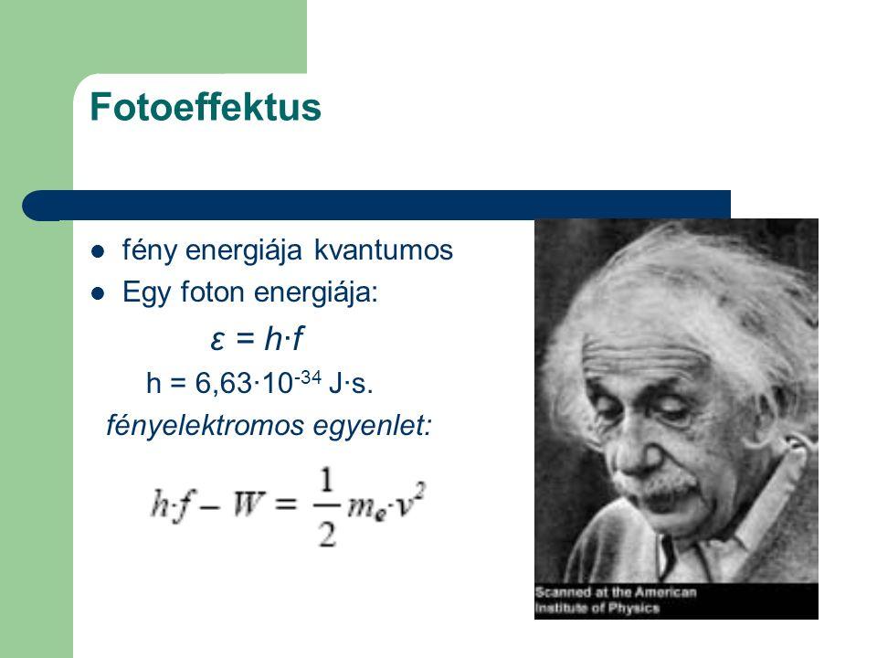 Fotoeffektus fény energiája kvantumos Egy foton energiája: ε = h·f h = 6,63·10 -34 J·s. fényelektromos egyenlet:
