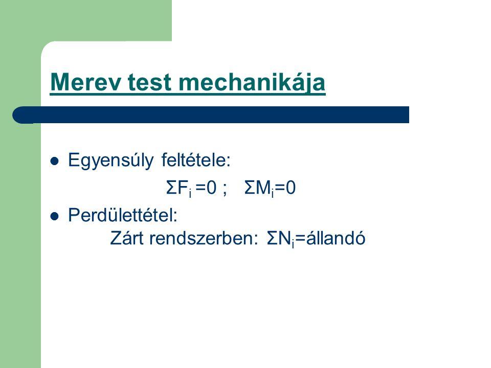 Merev test mechanikája Egyensúly feltétele: ΣF i =0 ; ΣM i =0 Perdülettétel: Zárt rendszerben: ΣN i =állandó