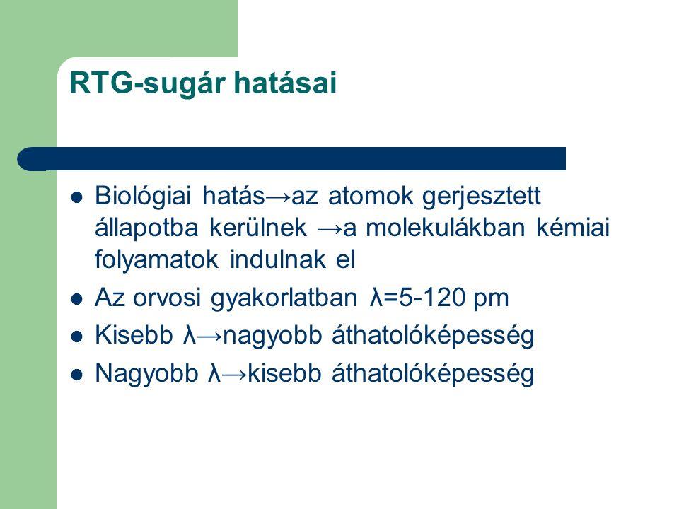 RTG-sugár hatásai Biológiai hatás→az atomok gerjesztett állapotba kerülnek →a molekulákban kémiai folyamatok indulnak el Az orvosi gyakorlatban λ=5-12