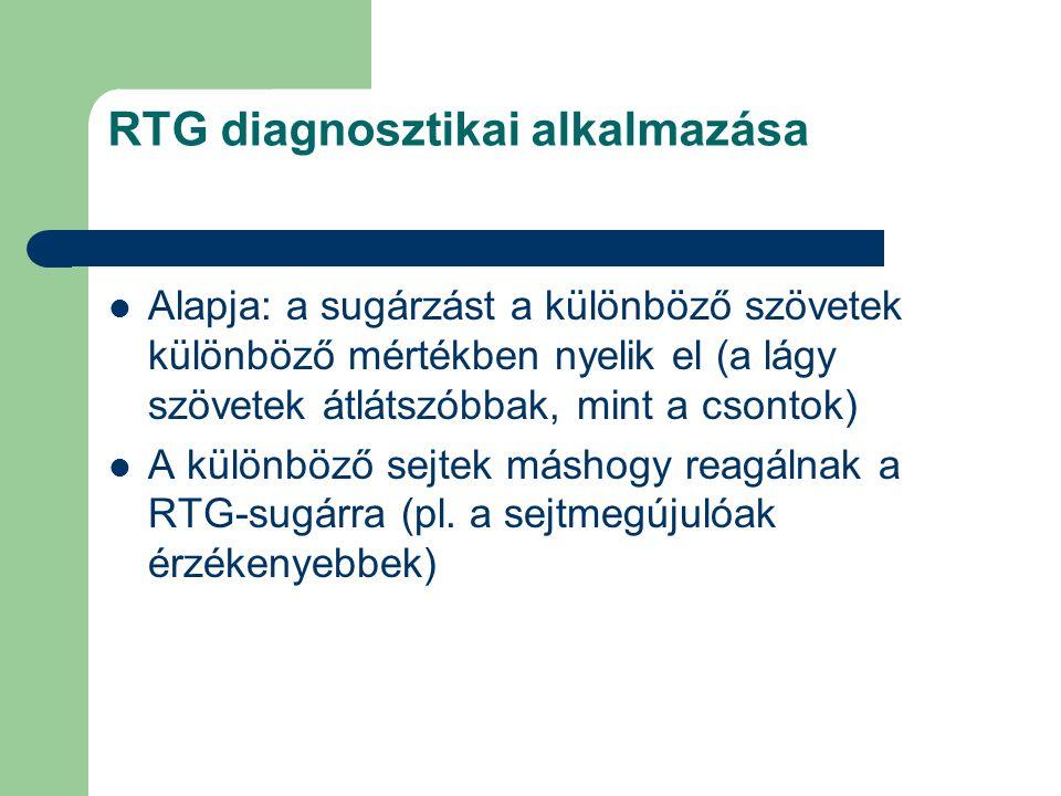 RTG diagnosztikai alkalmazása Alapja: a sugárzást a különböző szövetek különböző mértékben nyelik el (a lágy szövetek átlátszóbbak, mint a csontok) A