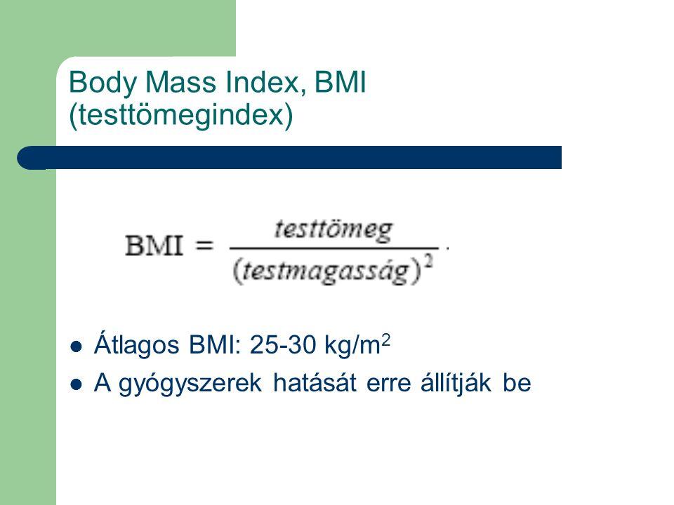 Body Mass Index, BMI (testtömegindex) Átlagos BMI: 25-30 kg/m 2 A gyógyszerek hatását erre állítják be