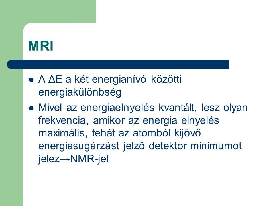 MRI A ΔE a két energianívó közötti energiakülönbség Mivel az energiaelnyelés kvantált, lesz olyan frekvencia, amikor az energia elnyelés maximális, te