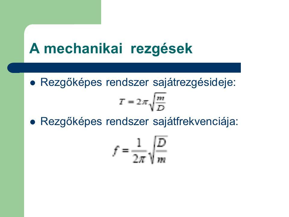 A mechanikai rezgések Rezgőképes rendszer sajátrezgésideje: Rezgőképes rendszer sajátfrekvenciája:
