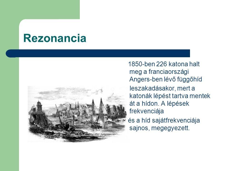 Rezonancia 1850-ben 226 katona halt meg a franciaországi Angers-ben lévő függőhíd leszakadásakor, mert a katonák lépést tartva mentek át a hídon. A lé