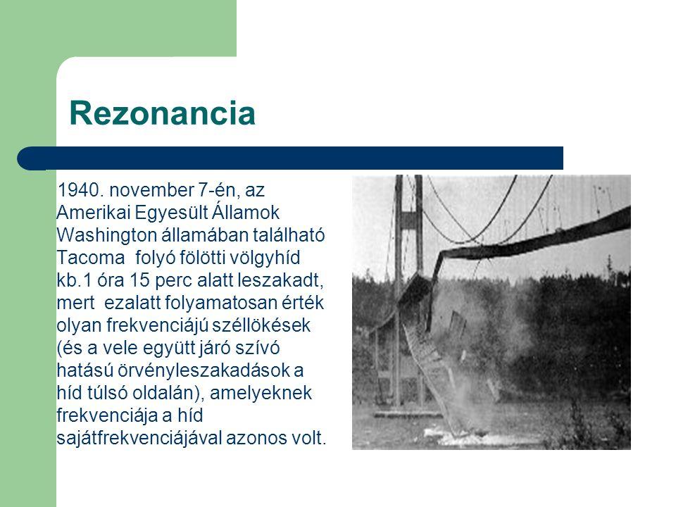 Rezonancia 1940. november 7-én, az Amerikai Egyesült Államok Washington államában található Tacoma folyó fölötti völgyhíd kb.1 óra 15 perc alatt lesza