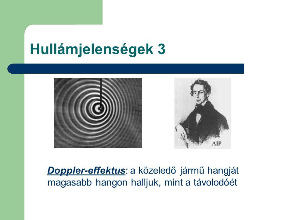 Hullámjelenségek 3 Doppler-effektus: a közeledő jármű hangját magasabb hangon halljuk, mint a távolodóét