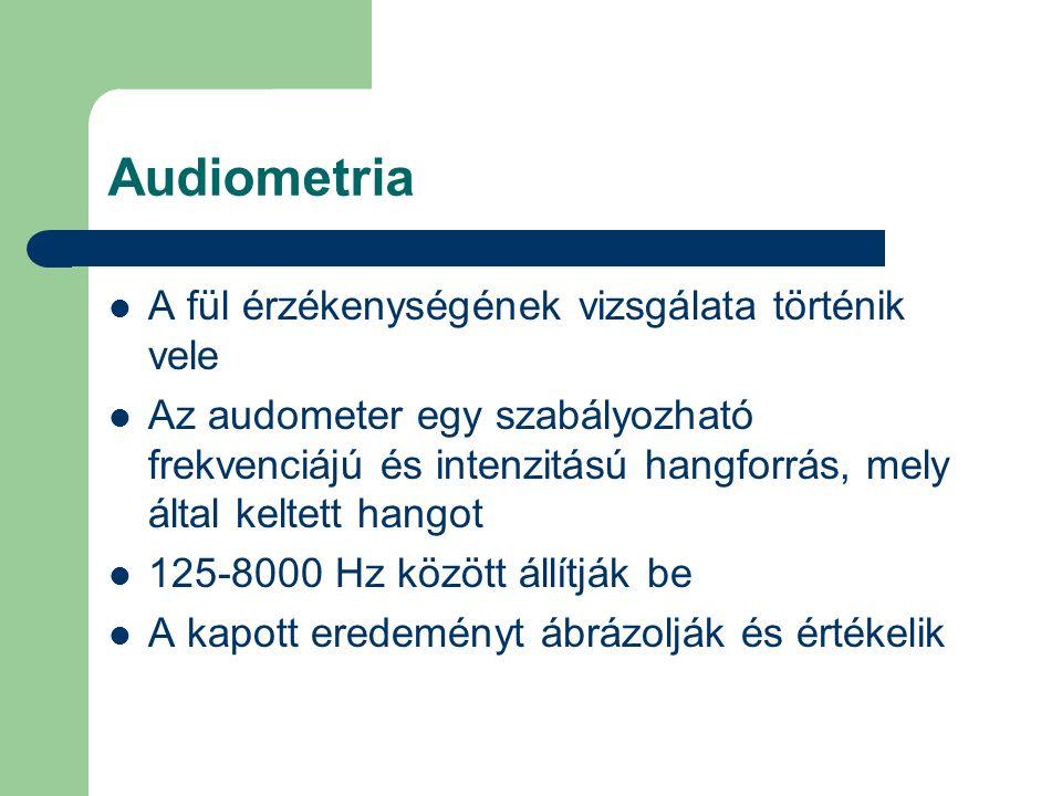 Audiometria A fül érzékenységének vizsgálata történik vele Az audometer egy szabályozható frekvenciájú és intenzitású hangforrás, mely által keltett h