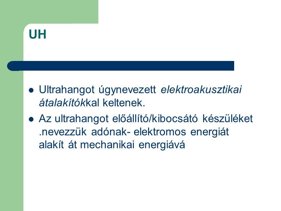 UH Ultrahangot úgynevezett elektroakusztikai átalakítókkal keltenek. Az ultrahangot előállító/kibocsátó készüléket.nevezzük adónak- elektromos energiá