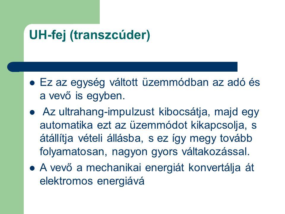 UH-fej (transzcúder) Ez az egység váltott üzemmódban az adó és a vevő is egyben. Az ultrahang-impulzust kibocsátja, majd egy automatika ezt az üzemmód