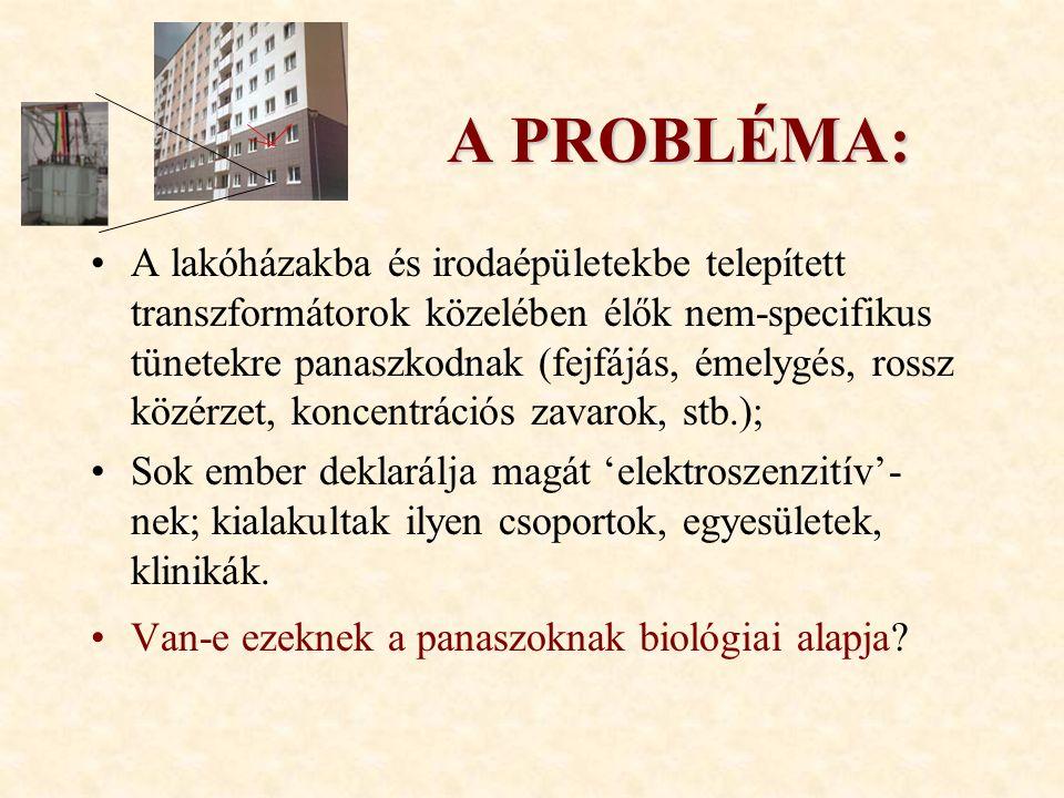 A PROBLÉMA: A lakóházakba és irodaépületekbe telepített transzformátorok közelében élők nem-specifikus tünetekre panaszkodnak (fejfájás, émelygés, rossz közérzet, koncentrációs zavarok, stb.); Sok ember deklarálja magát 'elektroszenzitív'- nek; kialakultak ilyen csoportok, egyesületek, klinikák.
