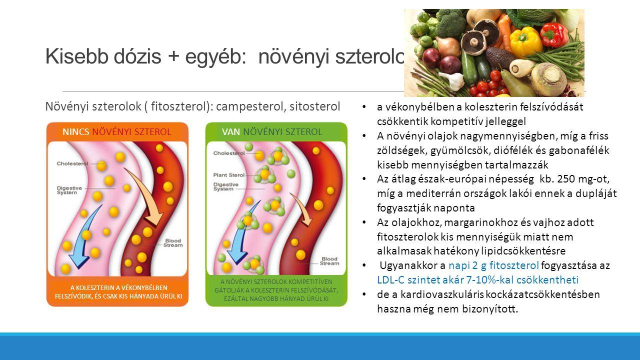 Kisebb dózis + egyéb: növényi szterolok Növényi szterolok ( fitoszterol): campesterol, sitosterol a vékonybélben a koleszterin felszívódását csökkentik kompetitív jelleggel A növényi olajok nagymennyiségben, míg a friss zöldségek, gyümölcsök, diófélék és gabonafélék kisebb mennyiségben tartalmazzák Az átlag észak-európai népesség kb.