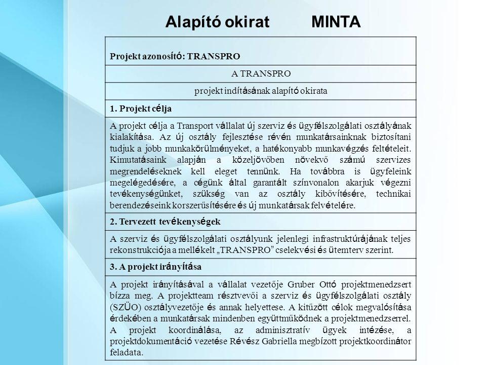 Alapító okiratMINTA Projekt azonos í t ó : TRANSPRO A TRANSPRO projekt ind í t á s á nak alap í t ó okirata 1.