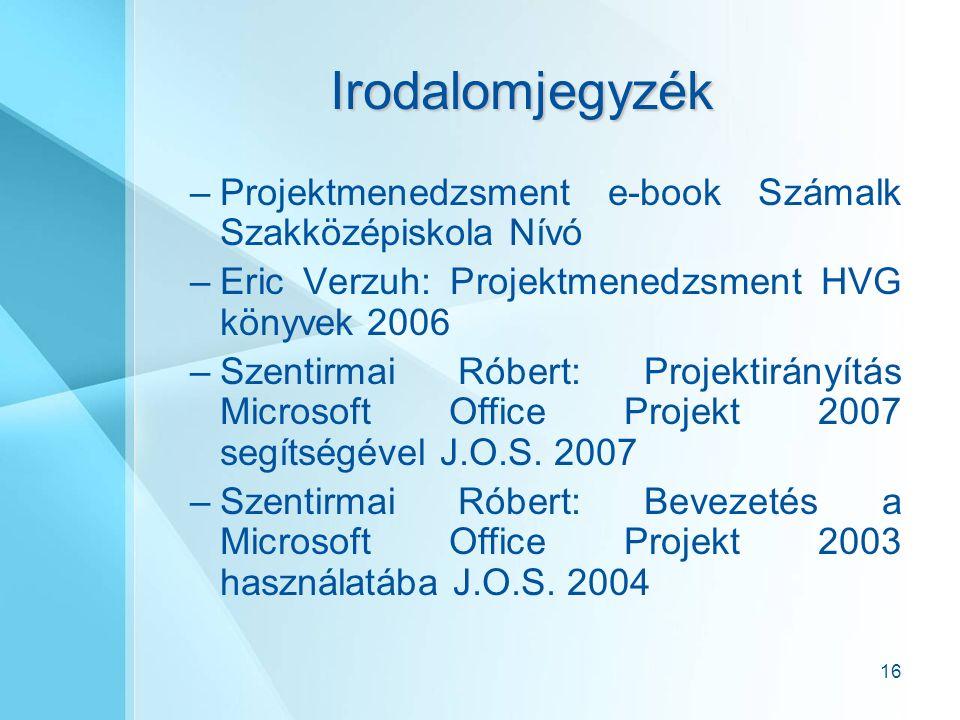 16 Irodalomjegyzék –Projektmenedzsment e-book Számalk Szakközépiskola Nívó –Eric Verzuh: Projektmenedzsment HVG könyvek 2006 –Szentirmai Róbert: Projektirányítás Microsoft Office Projekt 2007 segítségével J.O.S.