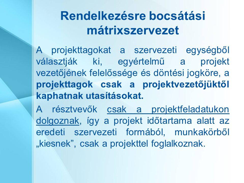 Rendelkezésre bocsátási mátrixszervezet A projekttagokat a szervezeti egységből választják ki, egyértelmű a projekt vezetőjének felelőssége és döntési jogköre, a projekttagok csak a projektvezetőjüktől kaphatnak utasításokat.
