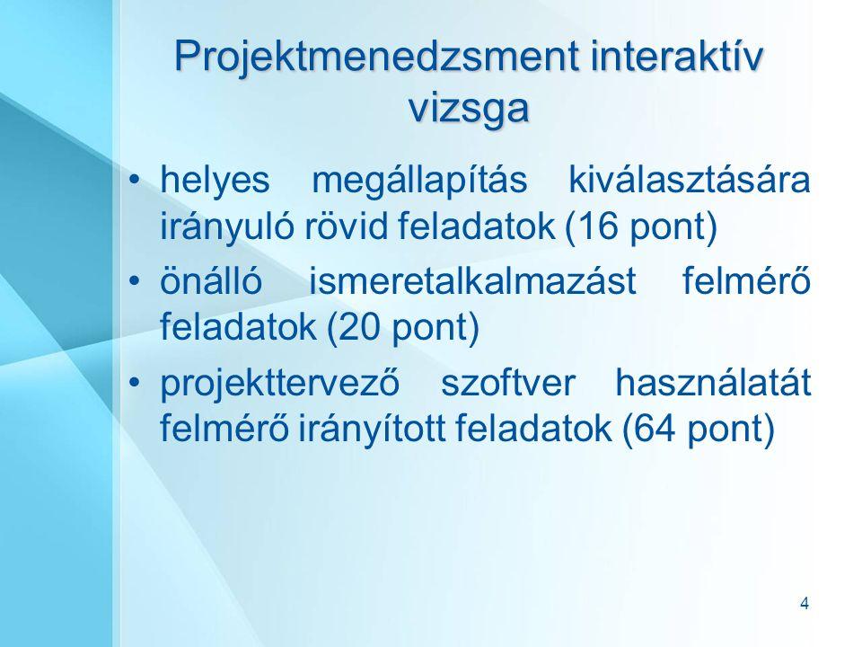 4 Projektmenedzsment interaktív vizsga helyes megállapítás kiválasztására irányuló rövid feladatok (16 pont) önálló ismeretalkalmazást felmérő feladatok (20 pont) projekttervező szoftver használatát felmérő irányított feladatok (64 pont)