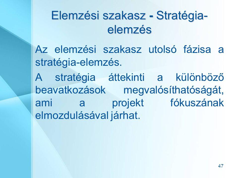 47 Elemzési szakasz - Stratégia- elemzés Az elemzési szakasz utolsó fázisa a stratégia-elemzés.