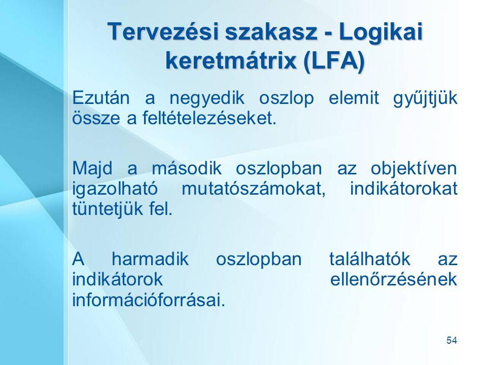 54 Tervezési szakasz - Logikai keretmátrix (LFA) Ezután a negyedik oszlop elemit gyűjtjük össze a feltételezéseket.