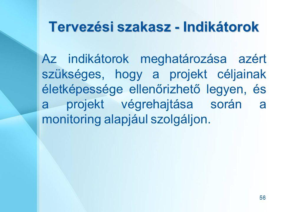 56 Tervezési szakasz - Indikátorok Az indikátorok meghatározása azért szükséges, hogy a projekt céljainak életképessége ellenőrizhető legyen, és a projekt végrehajtása során a monitoring alapjául szolgáljon.