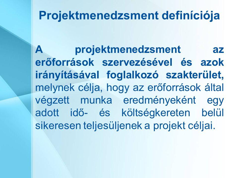 Projektmenedzsment definíciója A projektmenedzsment az erőforrások szervezésével és azok irányításával foglalkozó szakterület, melynek célja, hogy az erőforrások által végzett munka eredményeként egy adott idő- és költségkereten belül sikeresen teljesüljenek a projekt céljai.