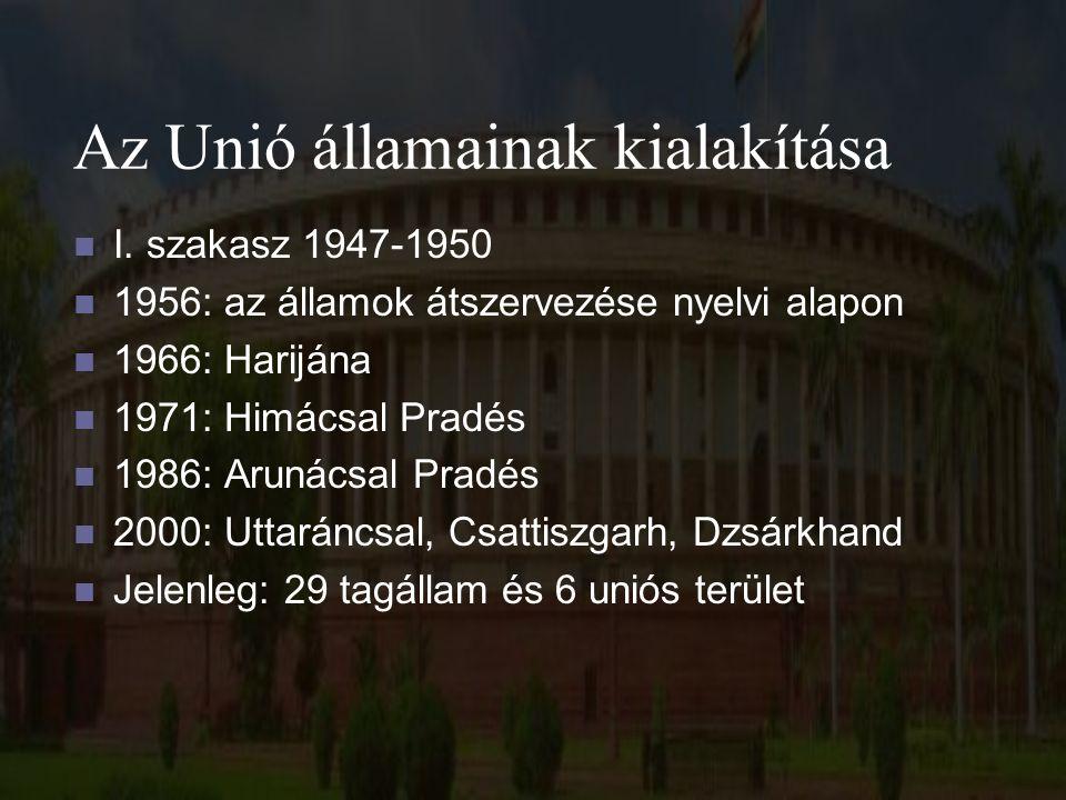 Az Unió államainak kialakítása I. szakasz 1947-1950 1956: az államok átszervezése nyelvi alapon 1966: Harijána 1971: Himácsal Pradés 1986: Arunácsal P