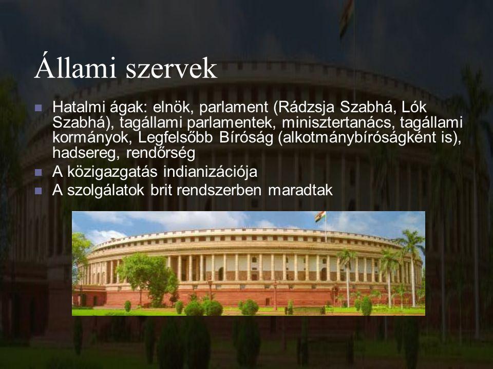 Állami szervek Hatalmi ágak: elnök, parlament (Rádzsja Szabhá, Lók Szabhá), tagállami parlamentek, minisztertanács, tagállami kormányok, Legfelsőbb Bíróság (alkotmánybíróságként is), hadsereg, rendőrség A közigazgatás indianizációja A szolgálatok brit rendszerben maradtak