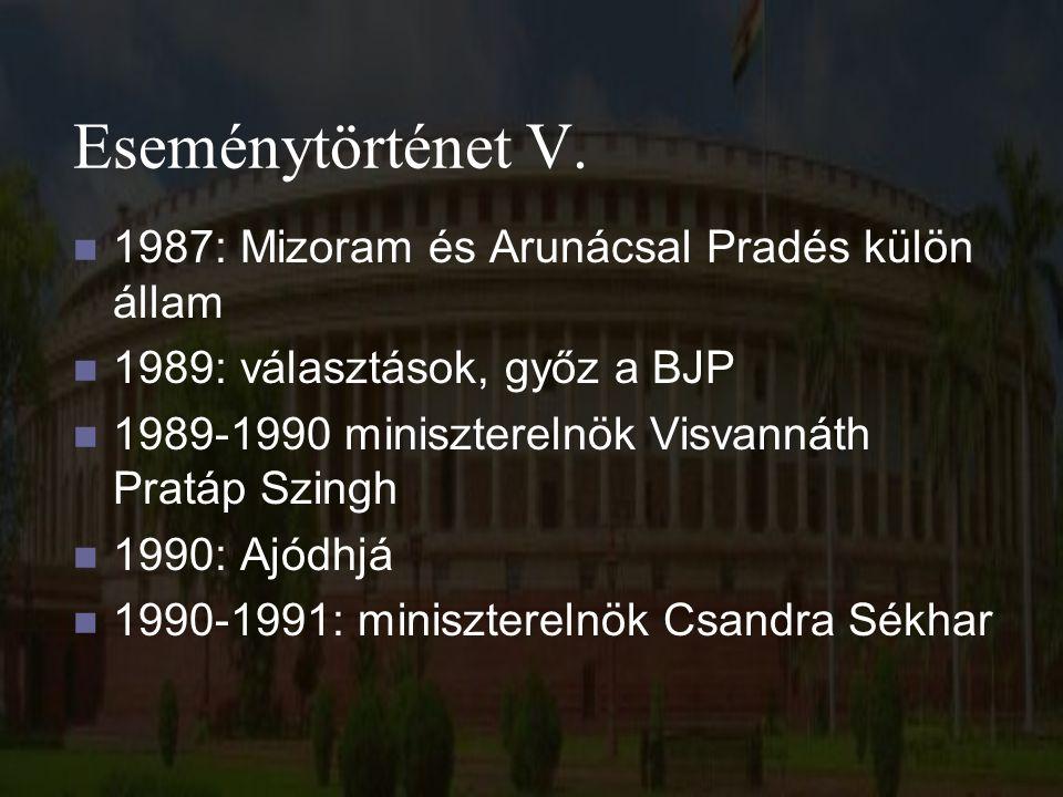 Eseménytörténet V. 1987: Mizoram és Arunácsal Pradés külön állam 1989: választások, győz a BJP 1989-1990 miniszterelnök Visvannáth Pratáp Szingh 1990: