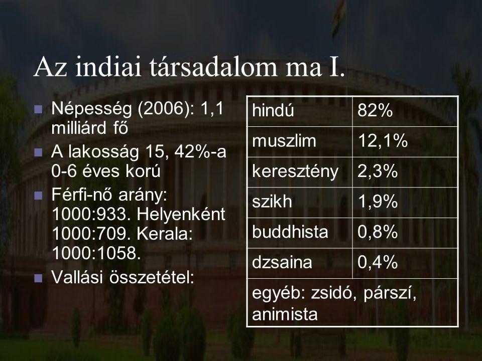 Az indiai társadalom ma I. Népesség (2006): 1,1 milliárd fő A lakosság 15, 42%-a 0-6 éves korú Férfi-nő arány: 1000:933. Helyenként 1000:709. Kerala: