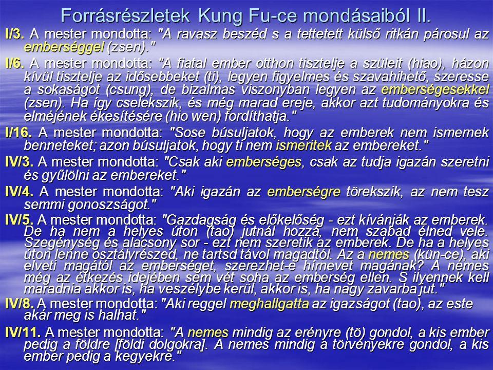 Forrásrészletek Kung Fu-ce mondásaiból II. I/3. A mester mondotta: