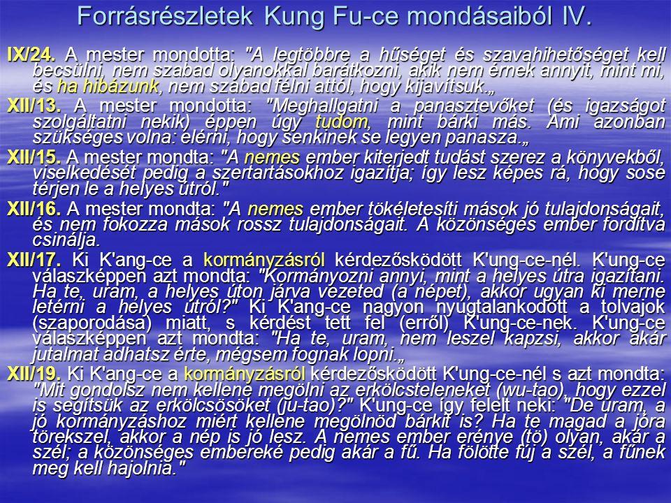 Forrásrészletek Kung Fu-ce mondásaiból IV. IX/24. A mester mondotta: