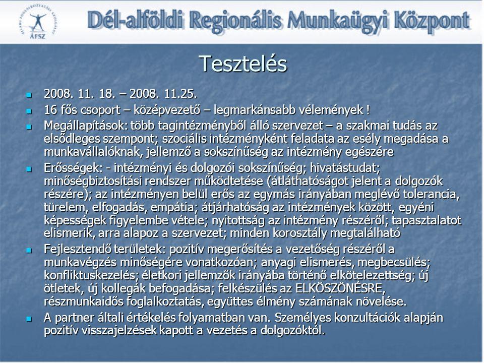 Tesztelés 2008. 11. 18. – 2008. 11.25. 2008. 11.