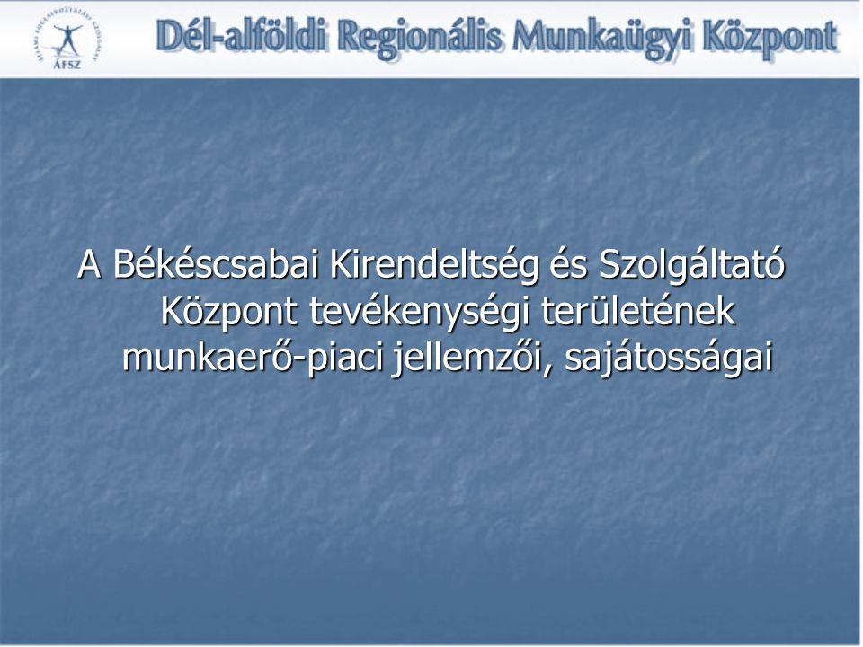 A Békéscsabai Kirendeltség és Szolgáltató Központ tevékenységi területének munkaerő-piaci jellemzői, sajátosságai