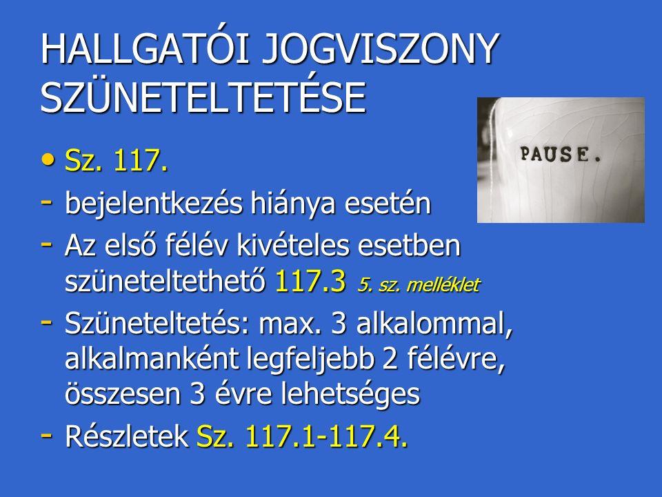HALLGATÓI JOGVISZONY SZÜNETELTETÉSE Sz. 117. Sz.