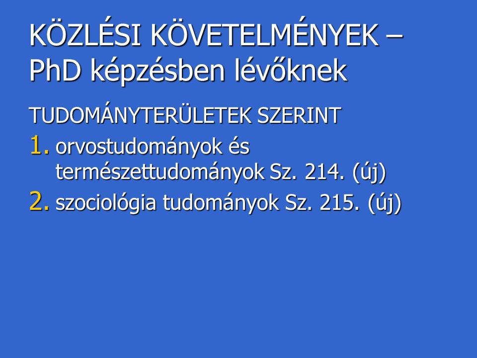KÖZLÉSI KÖVETELMÉNYEK – PhD képzésben lévőknek TUDOMÁNYTERÜLETEK SZERINT 1.