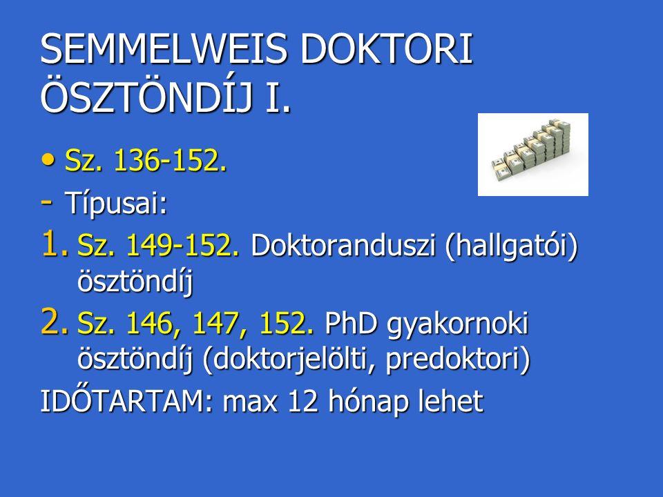 SEMMELWEIS DOKTORI ÖSZTÖNDÍJ I.Sz. 136-152. Sz. 136-152.