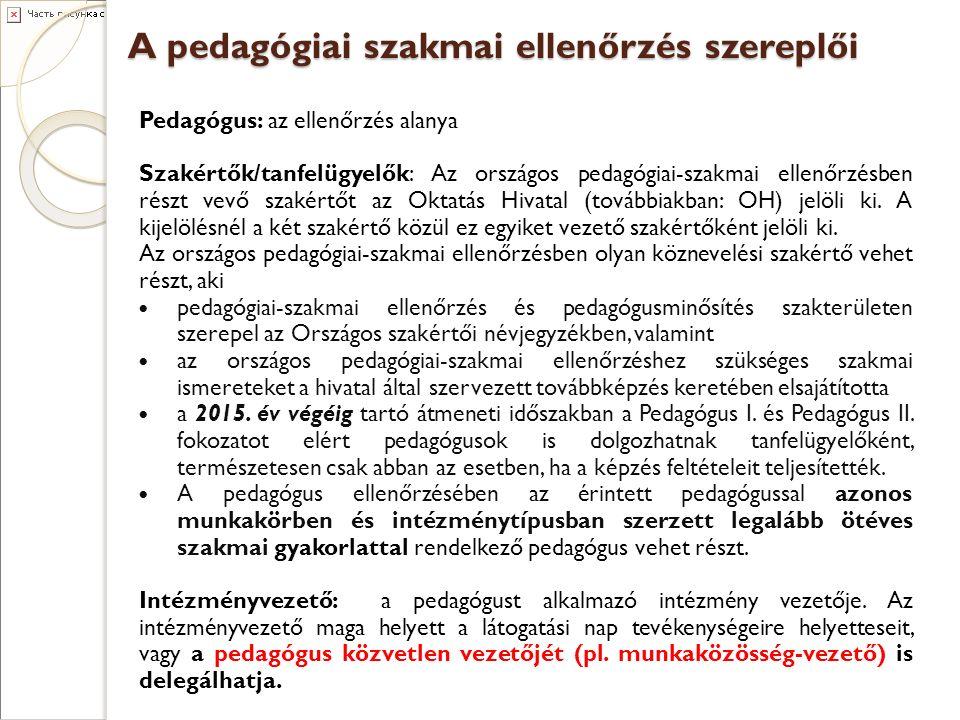 A pedagógiai szakmai ellenőrzés szereplői Pedagógus: az ellenőrzés alanya Szakértők/tanfelügyelők: Az országos pedagógiai-szakmai ellenőrzésben részt vevő szakértőt az Oktatás Hivatal (továbbiakban: OH) jelöli ki.