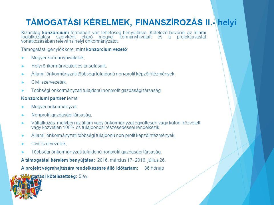 TÁMOGATÁSI KÉRELMEK, FINANSZÍROZÁS II.- helyi Kizárólag konzorciumi formában van lehetőség benyújtásra.