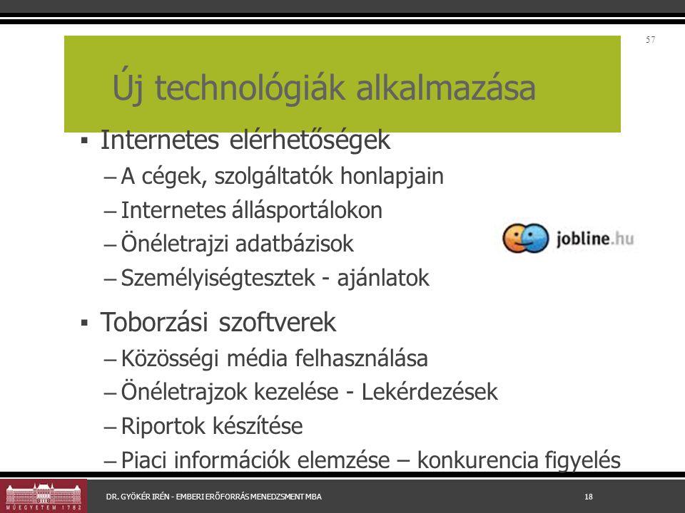 Új technológiák alkalmazása ▪ Internetes elérhetőségek – A cégek, szolgáltatók honlapjain – Internetes állásportálokon – Önéletrajzi adatbázisok – Sze
