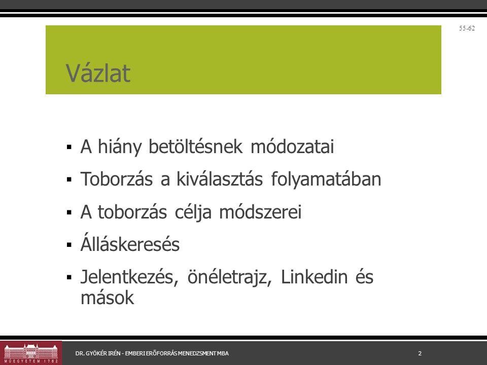 Professzionális cégek DR. GYÖKÉR IRÉN - EMBERI ERŐFORRÁS MENEDZSMENT MBA 13 57