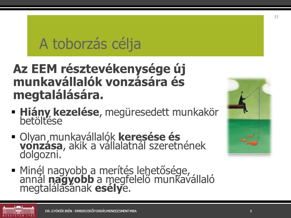 A toborzás célja Az EEM résztevékenysége új munkavállalók vonzására és megtalálására.  Hiány kezelése, megüresedett munkakör betöltése  Olyan munkav
