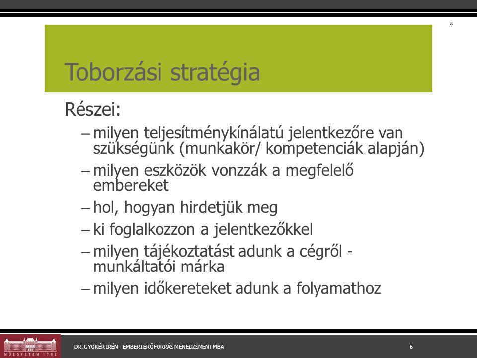Toborzási stratégia Részei: – milyen teljesítménykínálatú jelentkezőre van szükségünk (munkakör/ kompetenciák alapján) – milyen eszközök vonzzák a meg